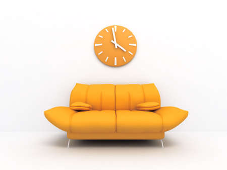 red pillows: Orange sofa and clock in modern interior of a light living room