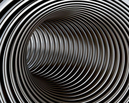 diminishing point: Turn in the round tunnel with the polished metal walls Stock Photo