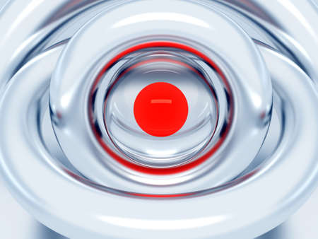 Red sphere in an environment of metal blue rings Stock Photo - 3488174