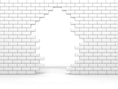 broken brick wall of white color photo