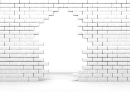 conquering: broken brick wall of white color