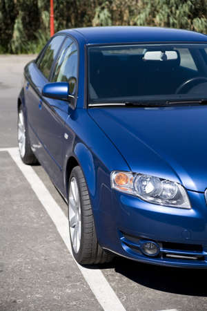 modern car in reflections on blue metallic Stock Photo - 3603882