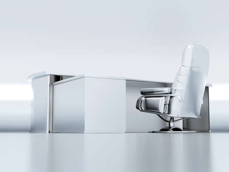 executed: table and armchair on a white background executed in a metallic style Stock Photo