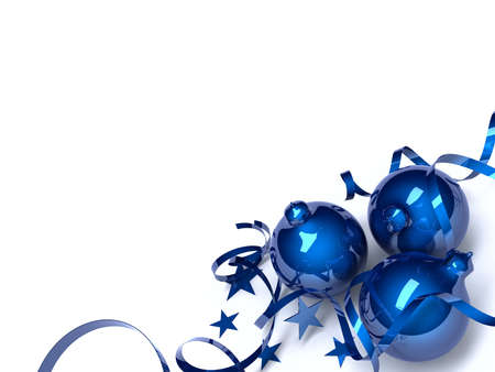 ball lights: Three blue Christmas toys in an environment of stars and a tinsel on a white