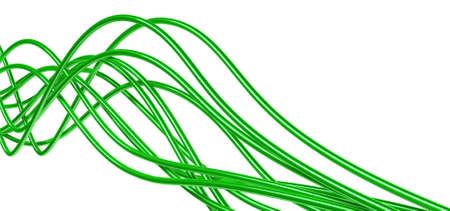bright metallic fibre-optical green cables on a white background photo