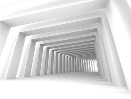 diminishing point: Turn of the shined corridor with columns and light making the way ahead