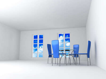 Dining room with chairs and a table in light tones with blue of the sky in the open window Stock Photo - 3663455