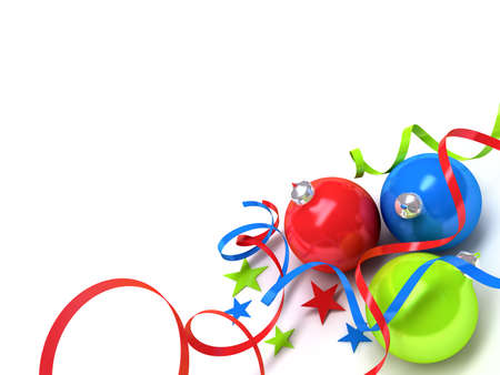 tinsel: Christmas toys of different colours in the form of spheres on a white background