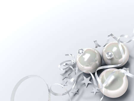 Christmas toys of cream color in an environment of stars and a tinsel on a white Stock Photo - 3700983