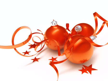 tinsel: Three red Christmas toys in an environment of stars and a tinsel on a white