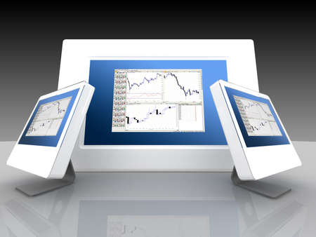 Monitors with display of a current situation in the financial and share markets photo