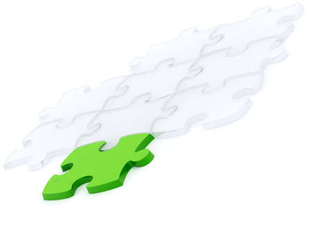 one green and many transparent components of a puzzle on a white background Stock Photo - 3747181
