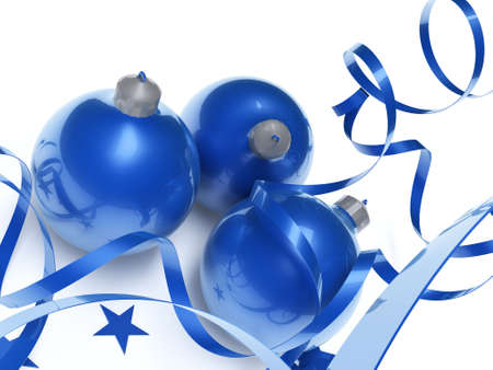 blue Christmas toys in an environment of stars and a tinsel on a white background Stock Photo - 3789593