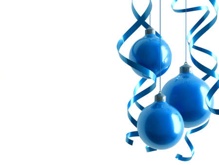 plaything: blue Christmas toys in an environment of ribbons on a white background