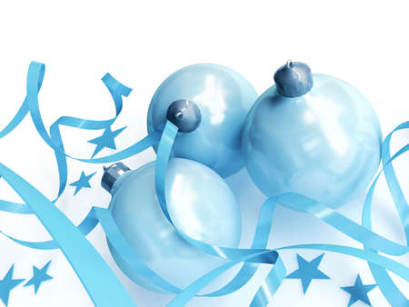blue Christmas toys in an environment of stars and a tinsel on a white background Stock Photo - 3819135