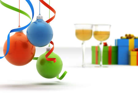 Christmas toys of different colours against glasses with champagne and gifts photo