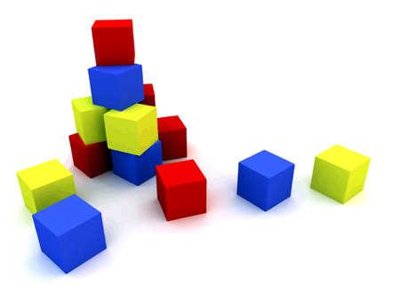 red cube: varicoloured bambino blocchi per i giochi all'aperto su uno sfondo bianco