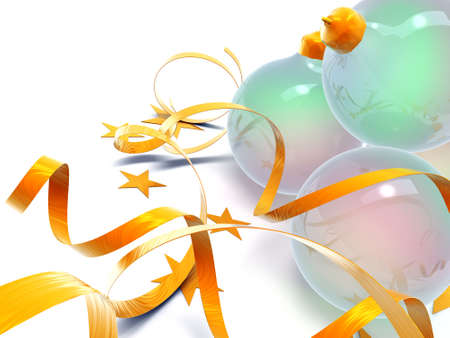 glass Christmas balls in an environment of stars and a tinsel on a white background Stock Photo - 3865114