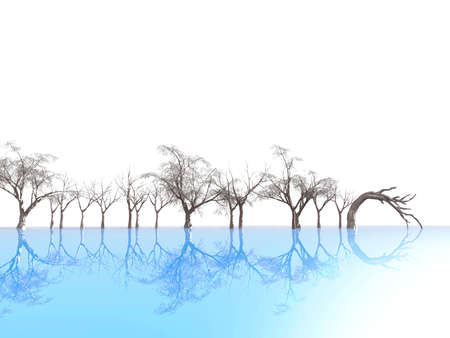 trees reflected on blue ice, on a background of foggy outlines Stock Photo - 3901018