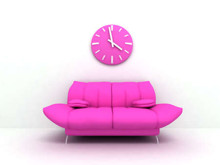 Purple sofa and clock in modern interior of a light living room Stock Photo - 3962236