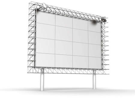Advertising information banner with illumination on a white background photo