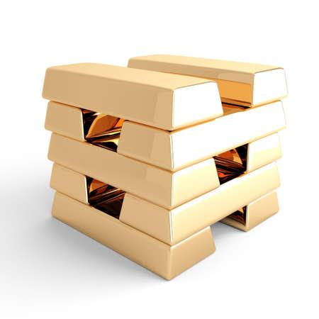combined: Lingotes de oro combinado con una columna sobre un fondo blanco