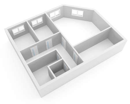 prefabricated buildings: plan de moderno apartamento con habitaciones vac�as, con ventanas y puertas Foto de archivo