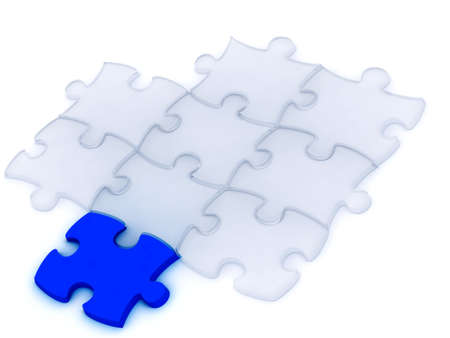 one blue and many transparent components of a puzzle on a white background Stock Photo - 4266084