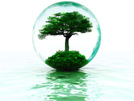 abstract liquid bubble with tree inside and their reflections Stock Photo - 4288116