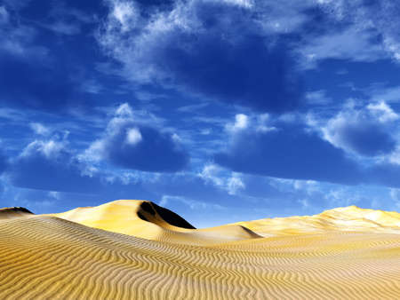 brightly yellow dunes of sand in the desert on a background blue sky photo