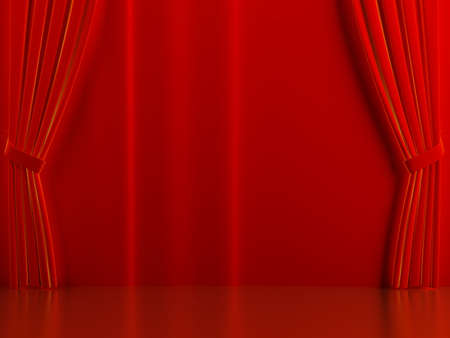 brightly: Brightly red curtains on a theatrical scene