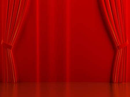cortinas rojas: Cortinas de color rojo brillante en una escena teatral Foto de archivo