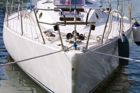 prow: prow of ship white color, loosened on turquoise waves Stock Photo