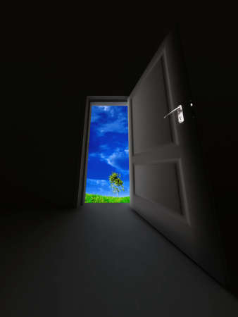unclosed: unclosed door in a dark room and spring landscape with a grass, blue sky and a tree
