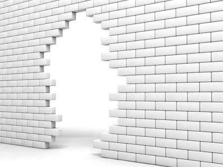 white hole: broken brick wall of white color