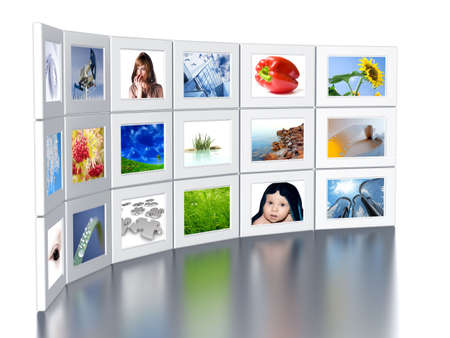 Set of monitors with static colourful and bright images photo