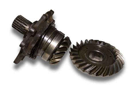 greasing: Conjunto engranajes de metal del autom�vil en abundante mecanismo engrasado