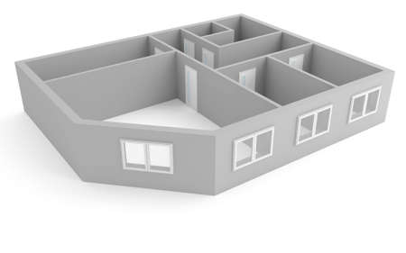 artificial model: plan of modern apartment with empty rooms with windows and doors