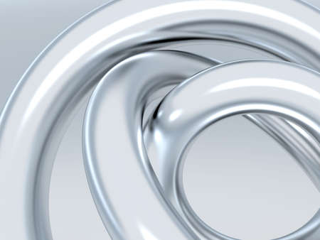 Abstract metallic rings on shined grey background Stock Photo - 4422161