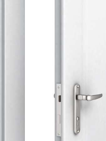 locking: opened door with a modern locking mechanism on a white background