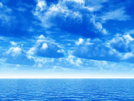 cloudy blue sky leaving for horizon above a blue surface of the sea photo