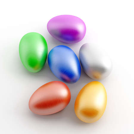 varicoloured painted eggs on a white background photo