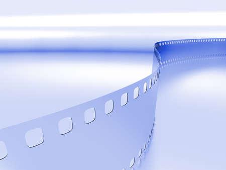 blue metallic background: model of a photo film on a blue metallic background