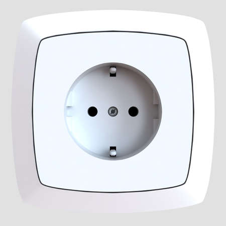 white plastic electric socket is built-in in a wall Stock Photo - 4480936