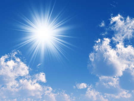 clouds making: beams of the sun which are making the way through clouds in the blue sky Stock Photo