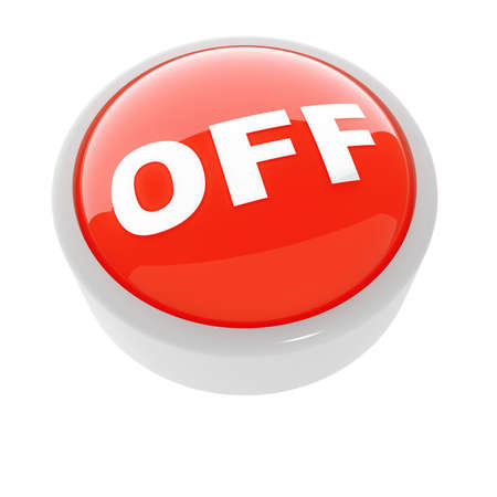 red button with a caution sign on a white background Stock Photo - 4552884