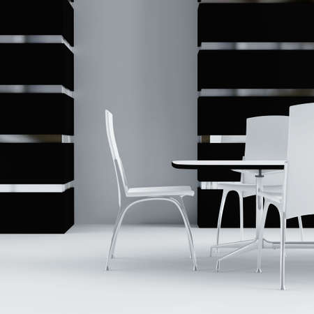 white table and chairs in the inter of modern room Stock Photo - 4552903