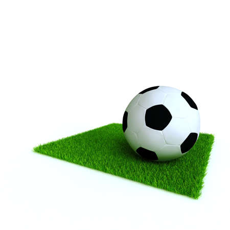 scoring: soccer ball on a lawn from a green bright grass on a white background