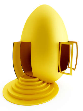 funny house as a gold egg with the opened window and door photo