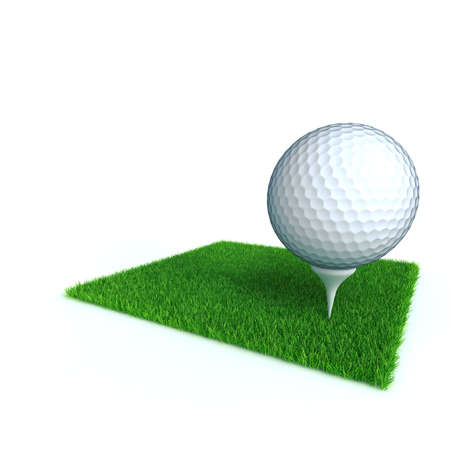 golf ball on a lawn from a green bright grass on a white background photo